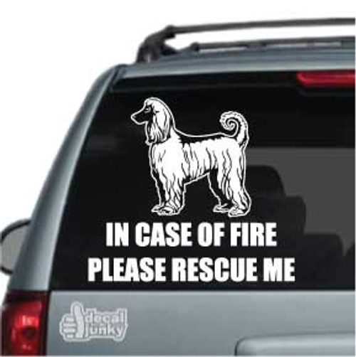 Afghan Hound Fire Rescue Car Window Decal