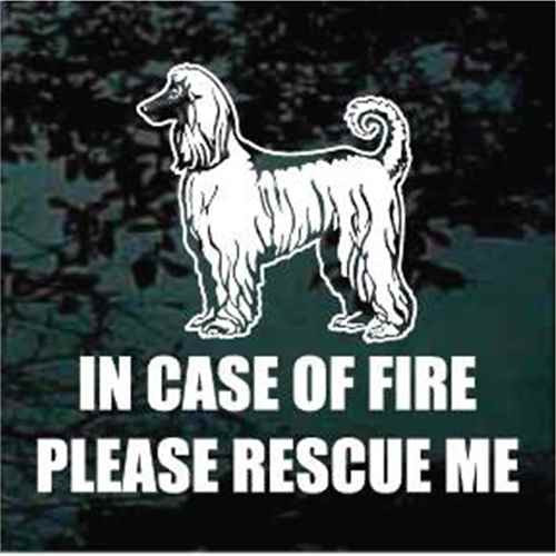 Fire Rescue Afghan Hound Window Decals