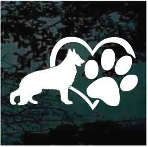 German Shepherd Heart Paw Decals