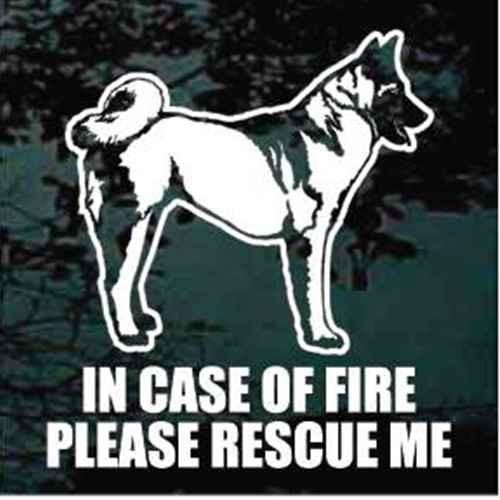 Fire Rescue Akita Dog Profile Decal
