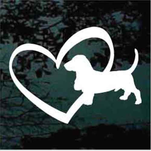 Basset Hound Inside Heart Window Decals