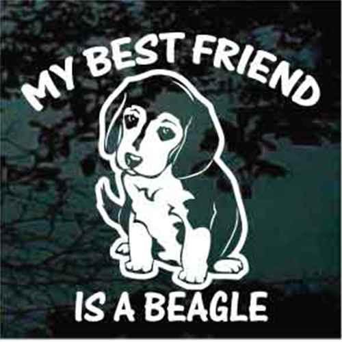 Beagle Puppy Sit Best Friend Window Decals
