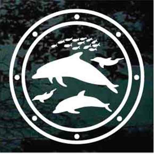 Porthole Dolphins Window Decals
