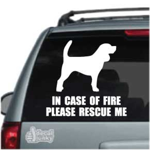 Beagle Solid Standing Fire Rescue Car Window Decal