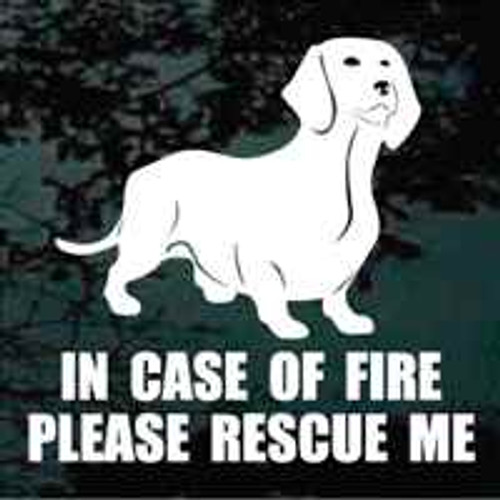 Dachshund Standing Fire Rescue Window Decal