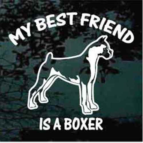Best Friend Boxer Standing Window Decal