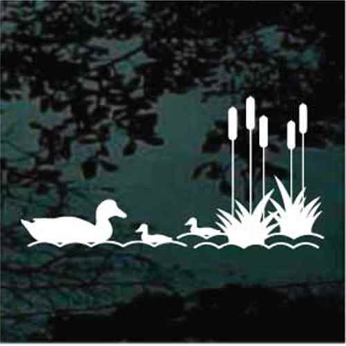Duck Family In The Water Window Decal