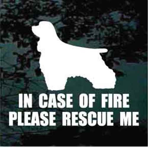Fire Rescue Cocker Spaniel Silhouette Window Decal