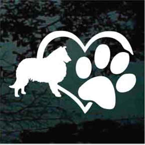 Collie Heart Paw Window Decal