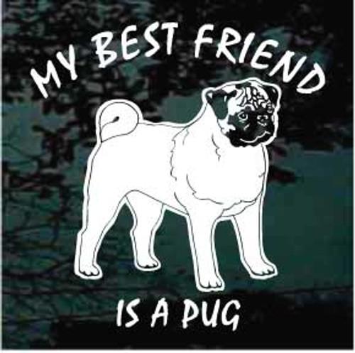 Pug 01 Best Friend Window Decal