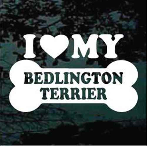 Love My Bedlington Terrier Bone Window Decal