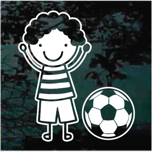 Boy Cartoon Soccer Player Decals