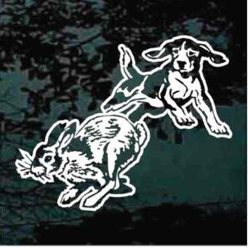 Beagle Chasing Rabbit Window Decals