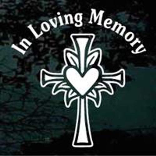 Heart Cross Christian Memorial Decals