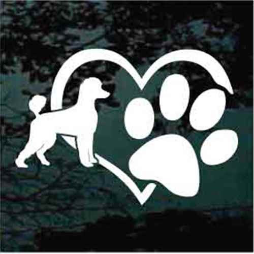 Poodle Heart Paw Window Decal