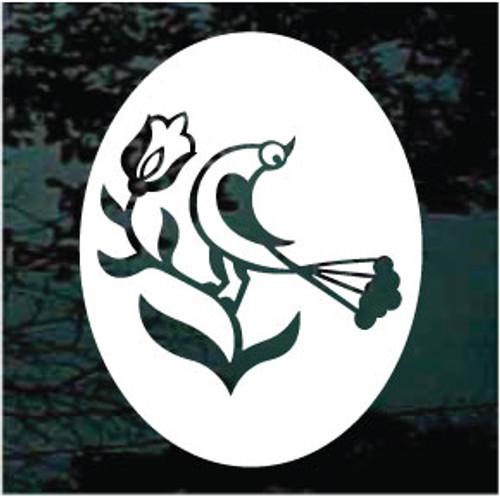 Decorative Folk Art Bird Oval