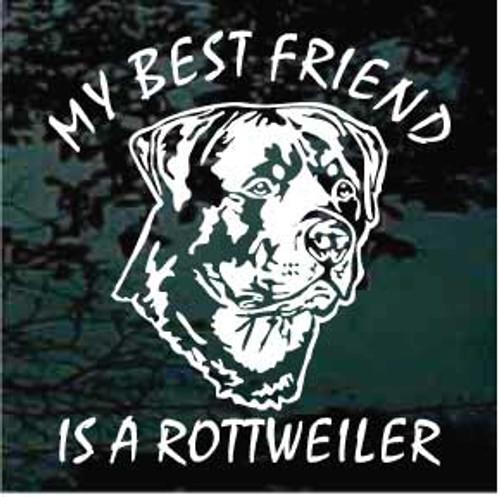 Best Friend Rottweiler Head Window Decal