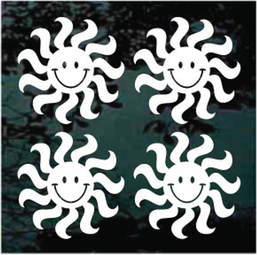 """Set of Four 3"""" Sun Smiley Window Decals"""
