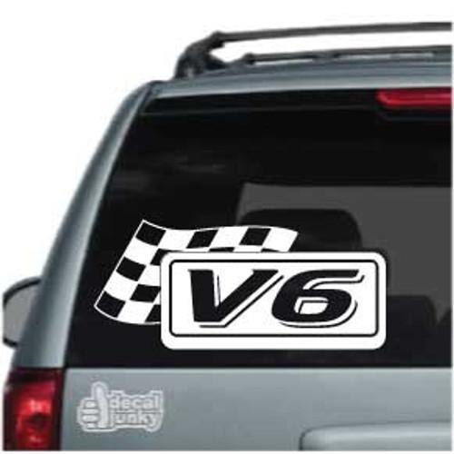 V6 Race Flag Car Decals