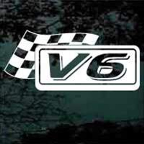 V6 Race Flag Window Decals