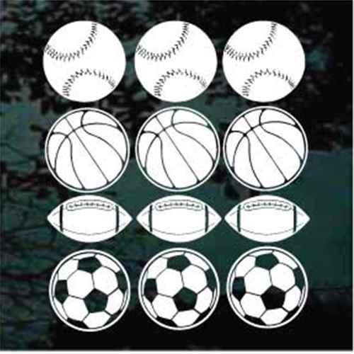 12 Assorted Sports Balls Window Decals