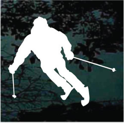 Man Snow Skiing Window Decal