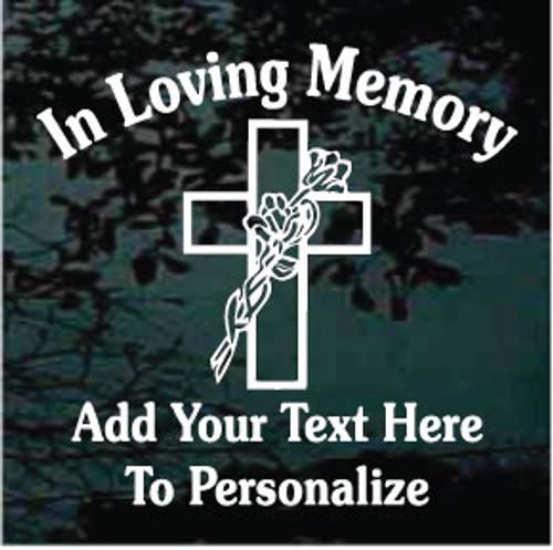 Cross With Flowers Memorial Decals