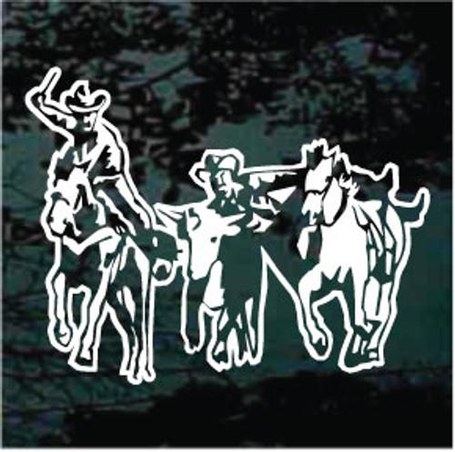 Cowboys Wrestling Steer Window Decals