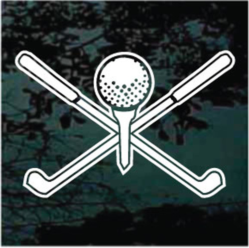 Golf Clubs Crossed & Ball