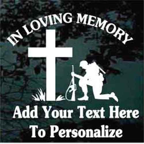 Armed Soldier Praying Cross Memorial Window Decal