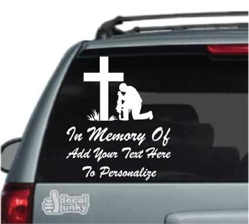 Christian Soldier Praying Memorial Car Decal