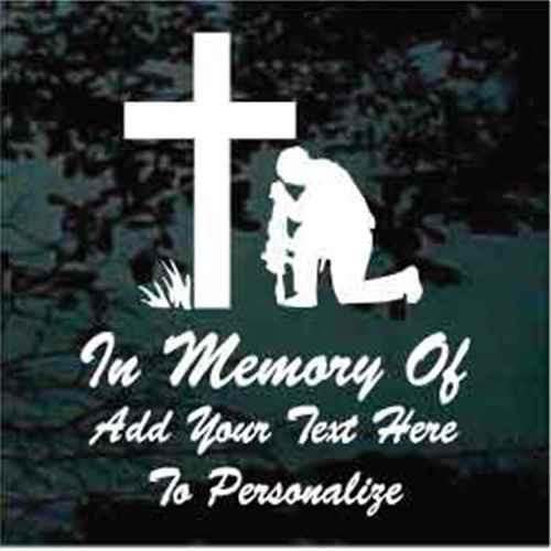 Christian Soldier Praying Memorial Window Decal