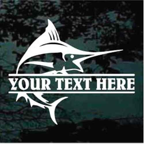 Marlin Fish Name Border Window Decals