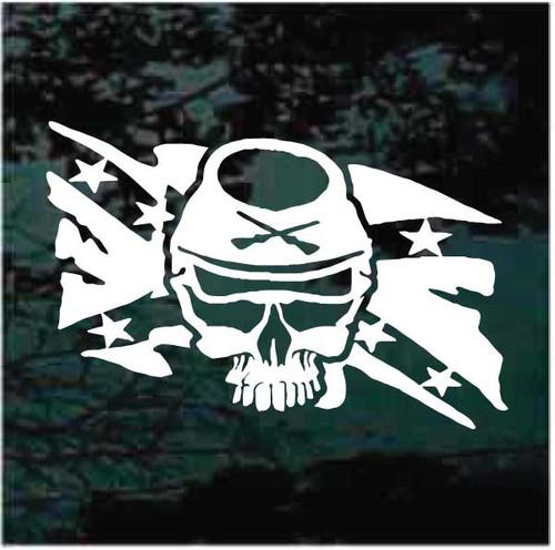 Confederate Skull Rebel Flag Decals