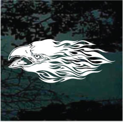 Eagle Head On Fire Window Decals