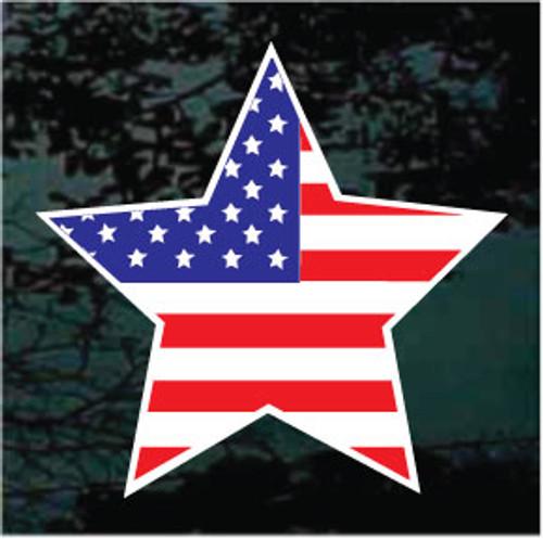 American Flag Star Window Decal