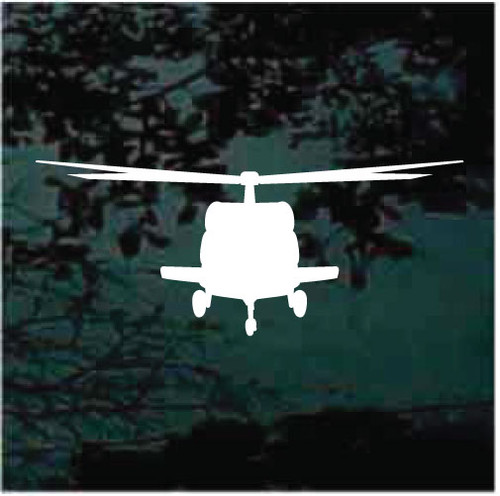 Front View Silhouette Helicopter Flying Decals