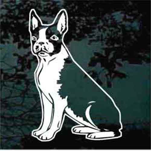 Boston Terrier Sitting Window Decals