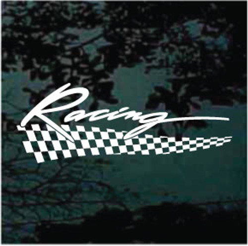 Script Racing Checkered Flag Graphic Decals