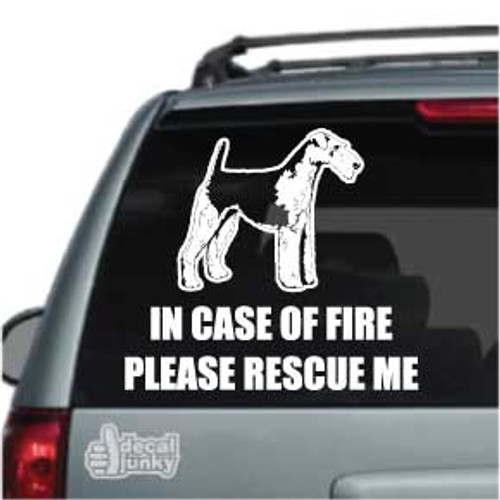 Fire Rescue Airedale Terrier Car Decal