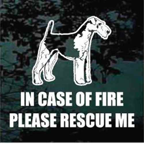 Fire Rescue Airedale Terrier Window Decal
