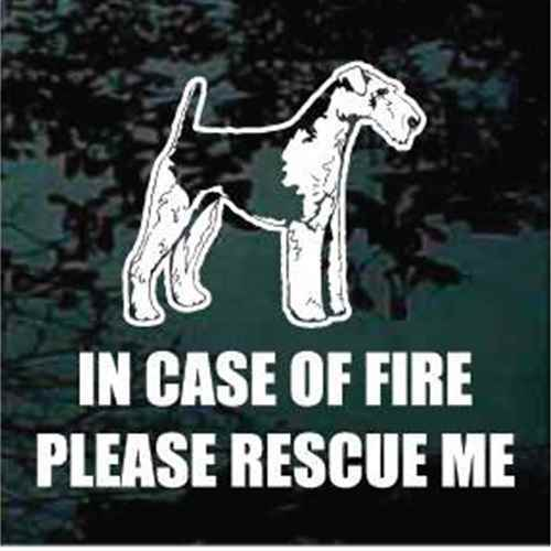 Fire Rescue Airedale Terrier Window Decals