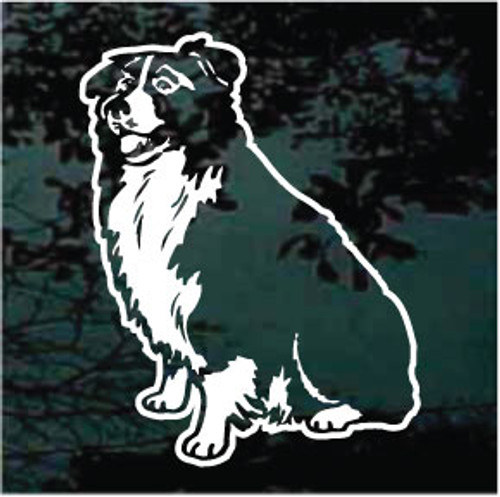 Border Collie Sitting Window Decal