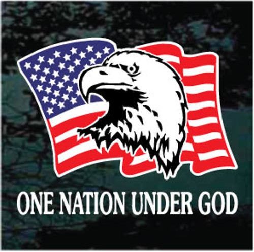 American Flag Eagle With Quote Car Window Decals Decal Junky