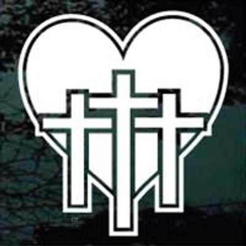 Christian Crucifixion Heart Cross Decals