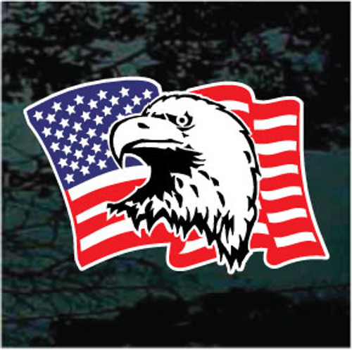 Waving American Flag With Eagle Head Window Decals