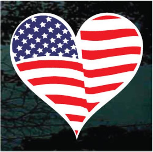 American Flag Heart Window Decal