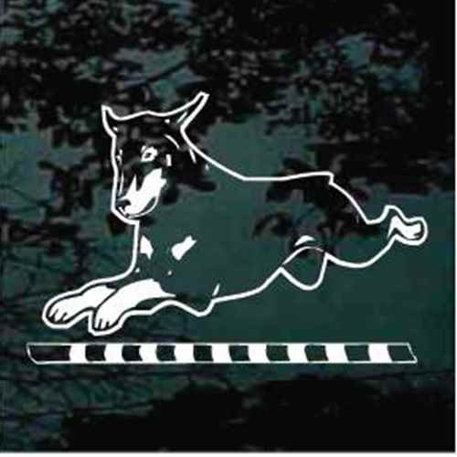 Doberman Bar Jump Agility Car Window Decal