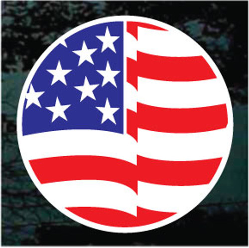Round American Flag Window Decal