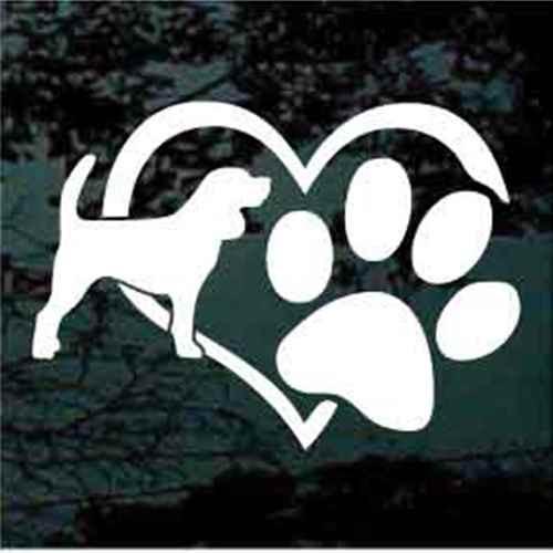 Beagle Heart Paw Decal